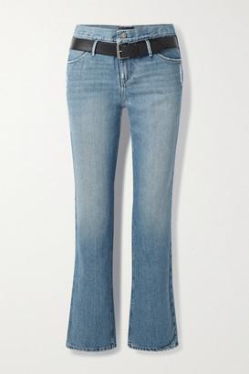 RtA Dexter Belted Distressed High-rise Straight-leg Jeans - Mid denim