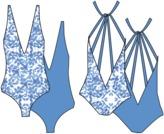 Nicolita Swimwear - New! Deep V Reversible One Piece Swimwear With Multi Strap Back In Mosaic/Blue