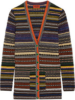 Missoni Striped Metallic Stretch-knit Cardigan - Purple