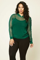 Forever 21 FOREVER 21+ Plus Size Hooded Open-Mesh Top