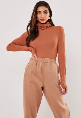 Missguided Tan Funnel Neck Long Sleeve Bodysuit