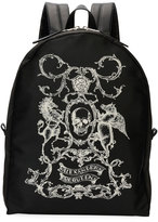 Alexander McQueen Coat of Arms Backpack, Black/White