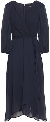 DKNY Wrap-effect Pleated Crepon Dress