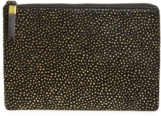 Madewell The Leather Pouch Clutch: Painted Leopard Genuine Calf Hair Edition