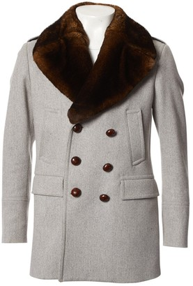 Burberry Grey Wool Coats