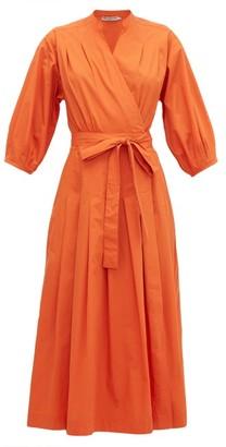 Three Graces London Delmare Cotton-poplin Wrap Dress - Womens - Orange