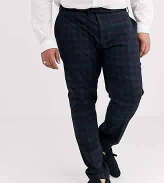 Asos Design DESIGN Plus super skinny suit trousers in blackwatch tartan check in navy