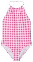 Ralph Lauren Pink and White Gingham Swimsuit