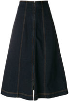 Fendi denim flared midi skirt