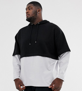 Asos Design DESIGN Plus oversized hoodie with double layer sleeve and hem in black