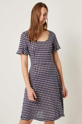 French Connection Womens Blue Gingham Meadow Jersey Round Neck Dress - Blue