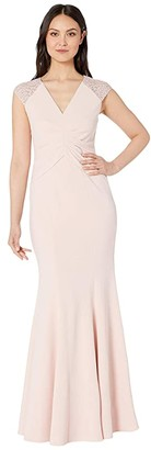 Vince Camuto V-Neck Gown with Details at the Sleeves (Blush) Women's Dress