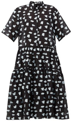 Cecilie Bahnsen Primrose Tiered Rose Fil-coupe Shirt Dress - Black Multi