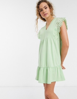 Lost Ink mini smock dress with broderie trim