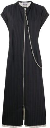 Acne Studios Zip-Front Pinstriped Midi Dress
