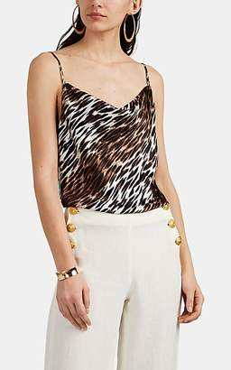 L'Agence Women's Kay Leopard-Print Silk Satin Cowlneck Cami