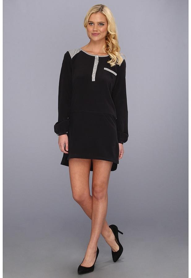 LAmade Silk Shift Henley Dress (Black/Black) - Apparel