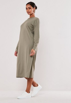 Missguided Khaki Basic Long Sleeve Midi T Shirt Dress