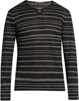 John Varvatos Striped V-neck linen-jersey sweater