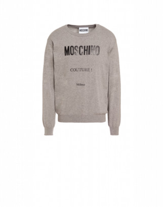 Moschino Couture Cashmere And Cotton Pullover Man Grey Size 46 It - (36 Us)