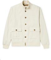 Thumbnail for your product : Valstar Valstarino Slim-Fit Herringbone Linen And Cotton-Blend Bomber Jacket