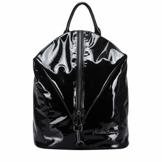 Claudia Canova Womens Black Pvc Look Vertical Zipped Backpack Backpack Black (Black)