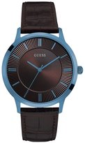 GUESS Men's Brown and Blue Classic Leather Watch