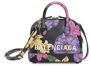 Balenciaga Women's Extra Extra-Small Ville Floral Top Handle Leather Bag