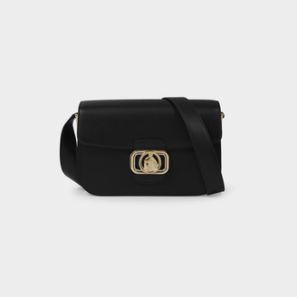 Lanvin Swan Box Medium Clasp Shoulder Bag In Black Leather