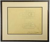 Rejuvenation Framed Original Toy Tank Drawing c1937