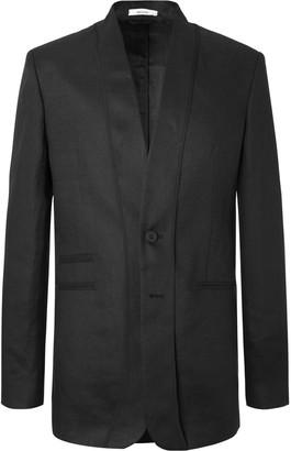 Isabel Benenato Black Slim-fit Unstructured Linen Blazer - Black