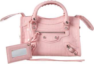 Balenciaga Classic City Mini Croc-Embossed Patent Shoulder Bag