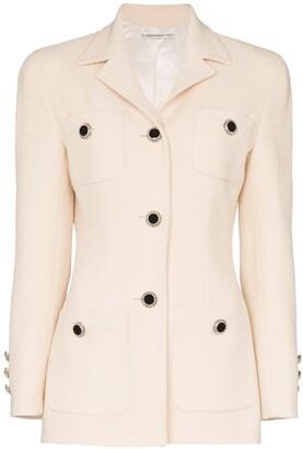 Alessandra Rich Crystal Button-Embellished Blazer