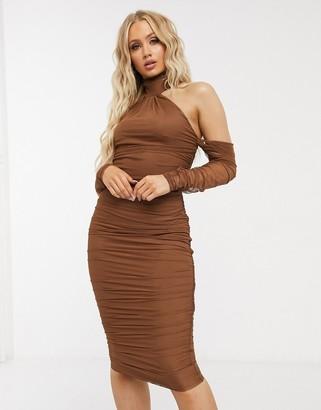 ASOS DESIGN mesh fallen shoulder halter neck midi dress with ruched detail in chocolate
