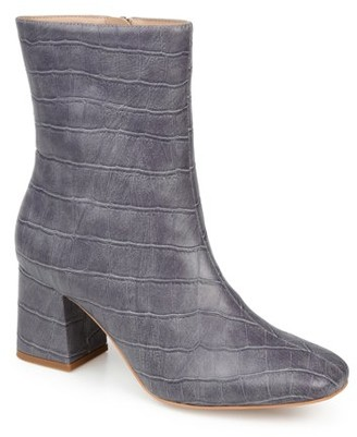 Brinley Co. Womens Croc Print Heeled Bootie