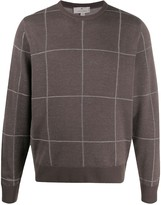 Canali checked crew neck jumper