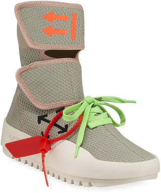 Off-White Off White Men's Moto Wrap High-Top Knit Sneakers