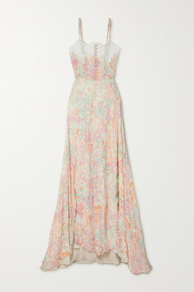 LoveShackFancy Elma Lace-trimmed Floral-print Crepon Maxi Dress - Pink