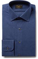 Emma Willis - Blue Slim-fit Herringbone Brushed-cotton Shirt - Storm blue
