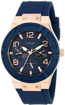 GUESS Women's Rigor Stainless Steel Japanese Quartz Watch with Silicone Strap