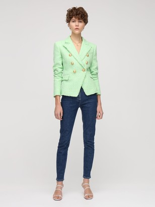 Balmain Buttoned Cotton Blend Fitted Jacket
