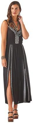 Wrangler Embroidered Slits Dress (Black) Women's Clothing