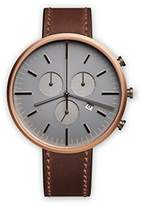Uniform Wares M42 PVD Rose Gold Shell Cordovan Unisex Quartz Watch with Grey Dial Chronograph Display And Brown Leather Strap