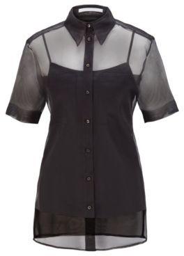 HUGO BOSS Short-sleeved blouse in transparent silk