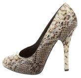 Dolce & Gabbana Snakeskin Round-Toe Pumps