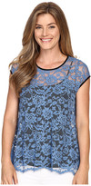 Karen Kane Blue Lace Flare Top