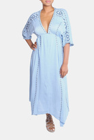 En Creme Sky Blue Boho Dress