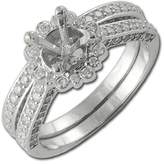 TriJewels Diamond Floral Bridal Set Halo Semi Mount Ring & Wedding Band 1.10 ct tw in 14K White Gold.size 5.5