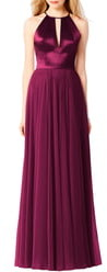 After Six Satin & Chiffon A-Line Gown