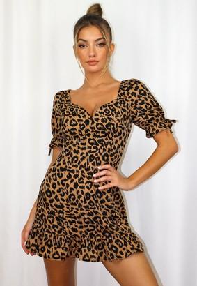 Missguided Petite Brown Leopard Print Ruffle Mini Dress
